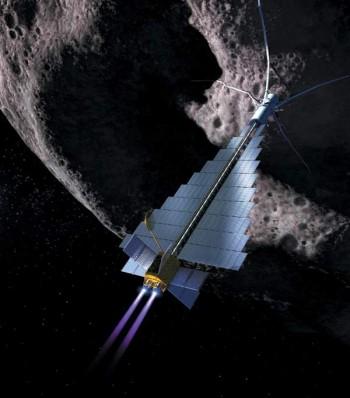 رسم إفتراضي  قاطرة فضائية تدفع كويكبا في مهمة هدفها حرفه عن مساره
