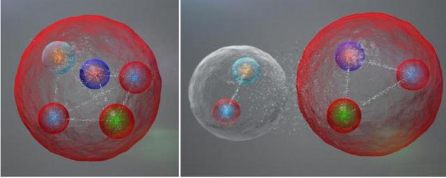 Illustration de l'agencement possible des quarks dans une particule pentaquark comme celles découvertes par LHCb. Les cinq quarks pourraient être liés étroitement (gauche). Ils pourraient aussi être rassemblés en un méson (un quark et un antiquark) et un baryon (trois quarks) faiblement liés entre eux (Image: Daniel Dominguez/CERN)