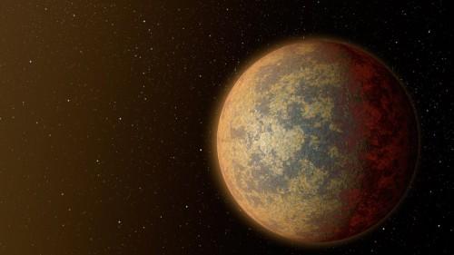 La superterre découverte serait en orbite autour de la naine orange Gliese 892. La planète, représentée ici par une vue d'artiste, est très proche de son étoile et la température à sa surface doit y être assez élevée bien que Gliese 892 soit moins lumineuse que le Soleil. © UNIGE
