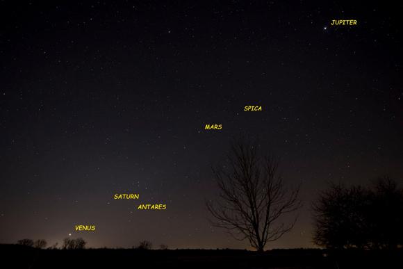 اصطفاف الكواكب بدءاً من كوكب المشتري من الجهة الشمالية (اليمين) وصولاً لعطارد