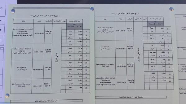 توزيع التلاميذ على الورشات العلمية الجموعة الأولى  chtoukaphysique