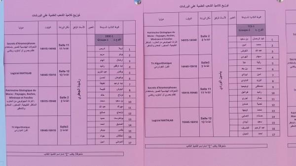 توزيع التلاميذ على الورشات العلمية  المجموعة الأولى  chtoukaphysique