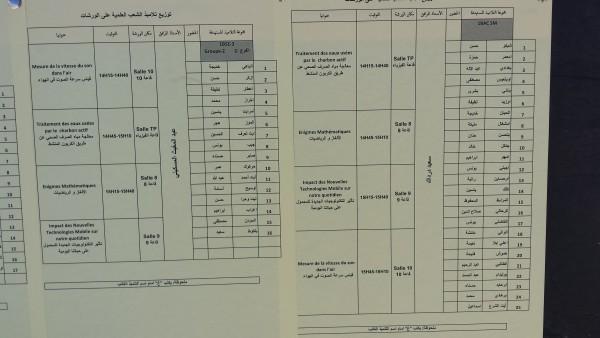 توزيع التلاميذ على الورشات العلمية المجموعة الثالثة  chtoukaphysique