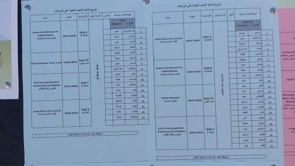 توزيع التلاميذ على الورشات العلمية المجموعة الرابعة  chtoukaphysique