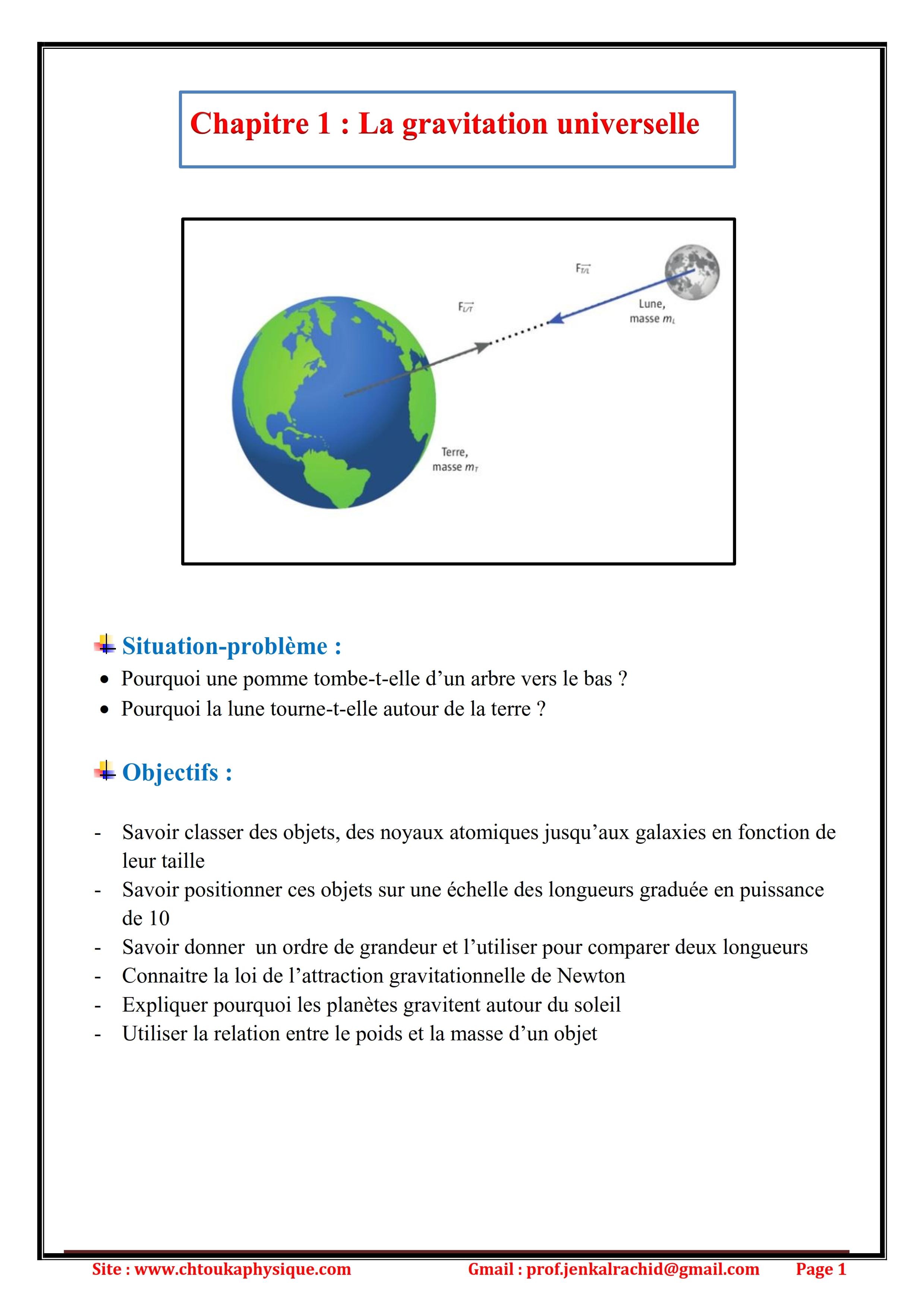 Chapitre 1 : La gravitation universelle : Cours, Activités et Exercices d'application TC BIOF