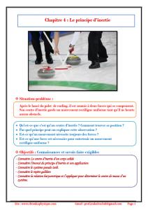 Chapitre 4 : Le principe d'inertie : Cours , Activités , Exercices d'application , TCS BIOF , Pr JENKAL RACHID