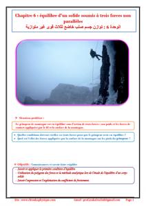 ♣ Chapitre 6 : équilibre d'un solide soumis à trois forces non parallèles , Cours , Activités , Exercices d'application , TCS BIOF , Pr JENKAL RACHID