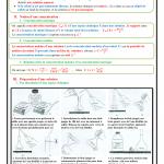 Chapitre 8 : Concentration molaire , Cours , Activités , Exercices d'application  , TCS BIOF