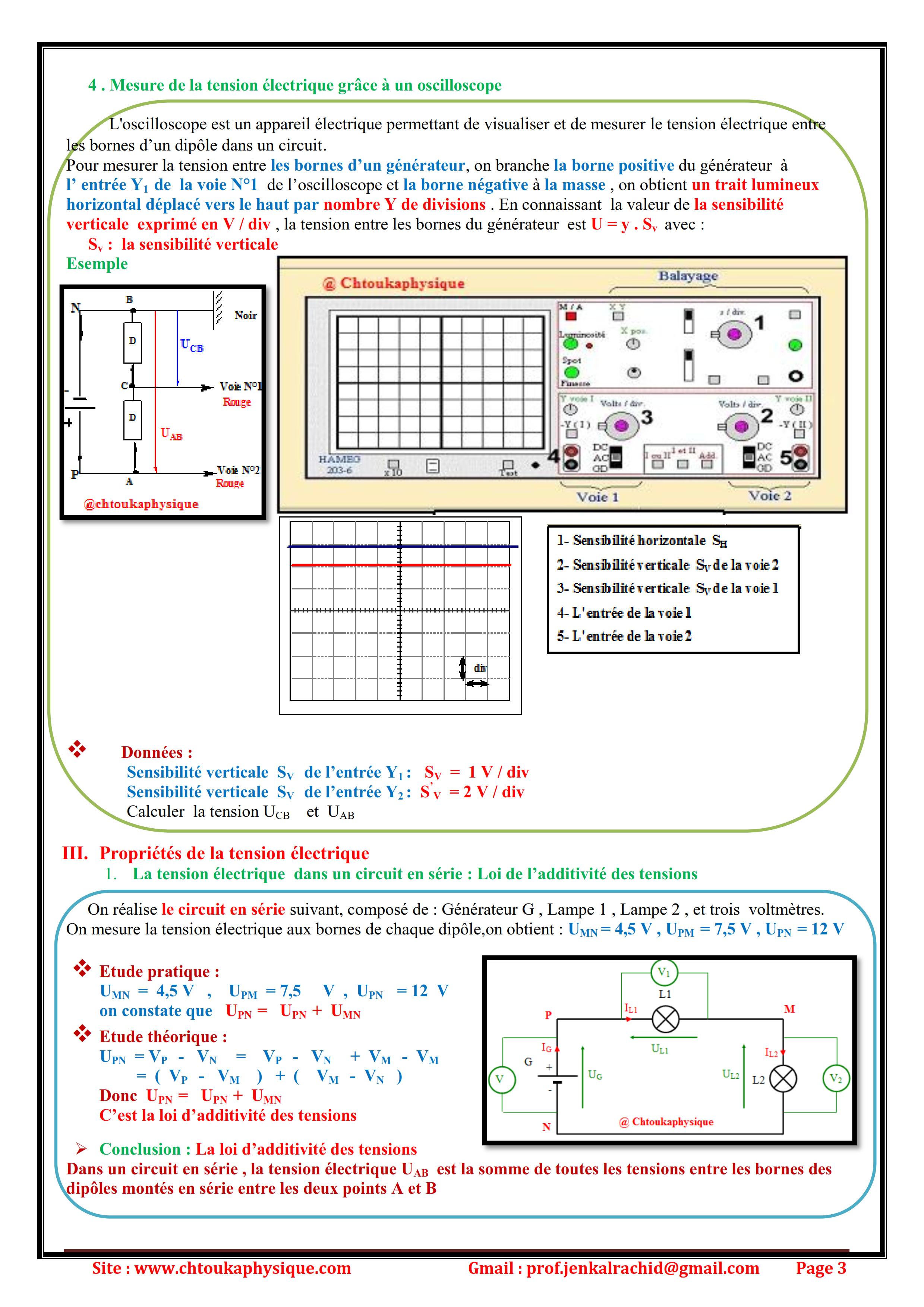 Chapitre 9  , La tension électrique , Cours , Activités , Exercices d'application  , TCS BIOF  Réalisé par Prof JENKAL RACHID