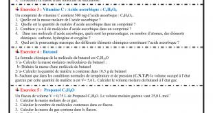 Série d'exercices 7 : La mole , Quantité de matière , TCS BIOF ,Pr JENKAL RACHID