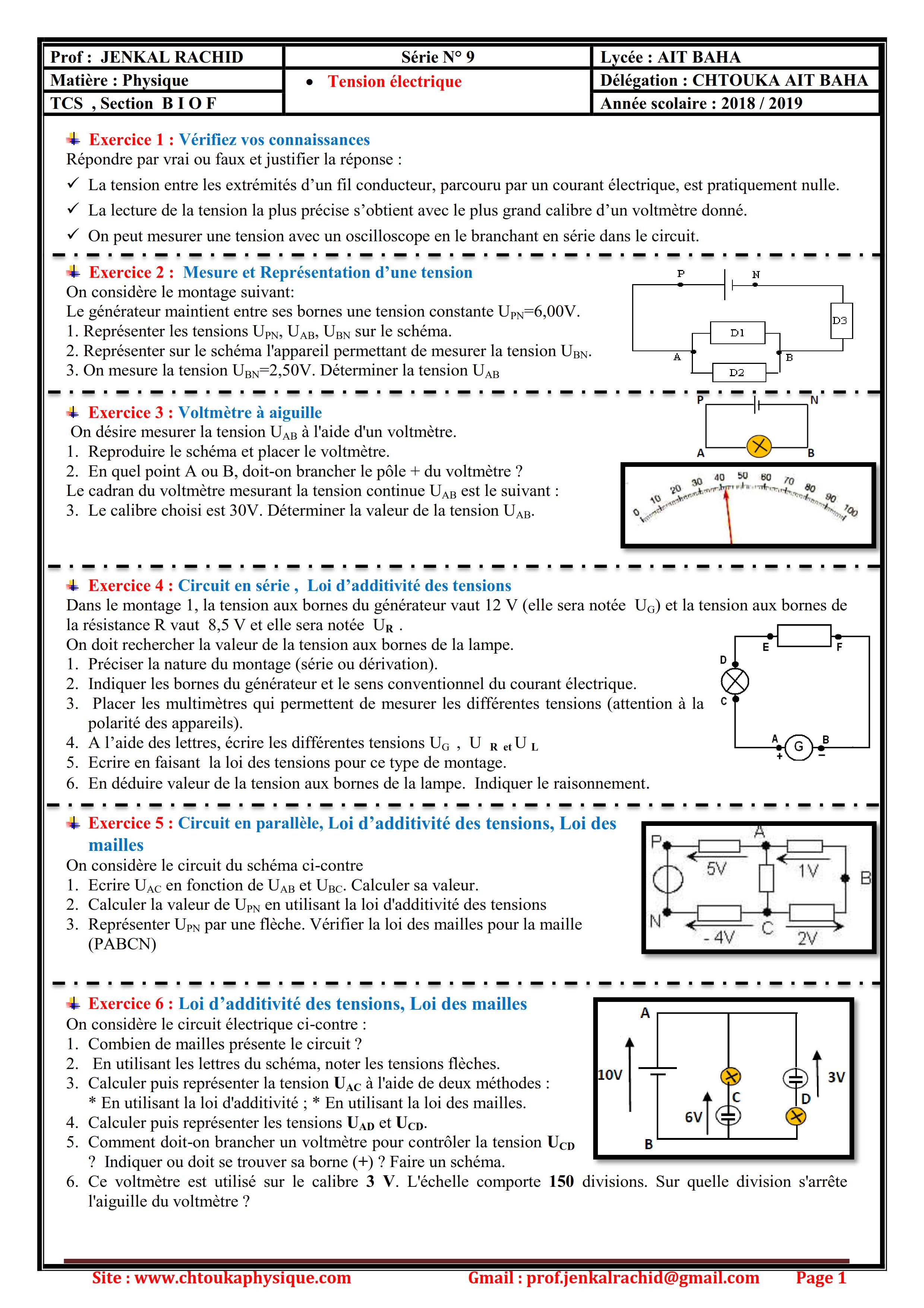 Série 9 : Tension électrique , TCS BIOF ,