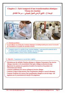 Chapitre 2 : Suivi temporel d'une transformation chimique -Vitesse de réaction : Cours , Activités et Exercices d'application , 2BAC BIOF , Pr JENKAL  RACHID