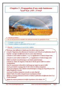 Chapitre 3 : Propagation d'une onde  lumineuse : Cours , Activités , Exercices d'application  , 2BAC BIOF , Pr JENKAL RACHID
