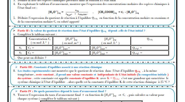 Chapitre 4 : état d'équilibre d'un système chimique : Activités , Exercices d'application : 2BAC BIOF , Pr JENKAL RACHID