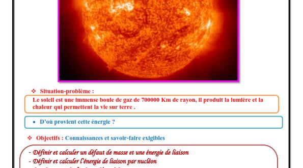 Chapitre 5 : Noyaux ,masse et énergie : Activités , Exercices d'application , 2BAC BIOF , Pr JENKAL RACHID
