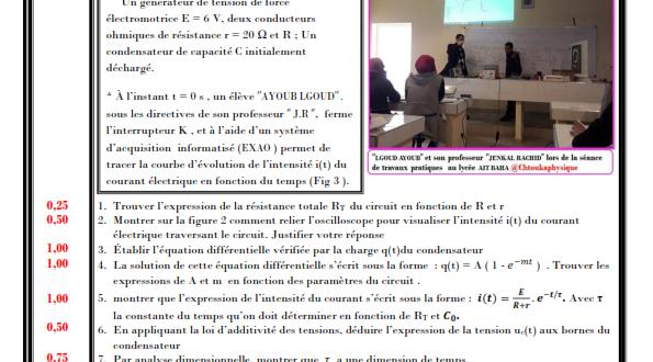 Devoir Surveillé N° 3 semestre 1 : 2BAC BIOF ,SP et SVT , 2019-2020 , Pr JENKAL RACHID