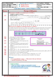 Devoir Surveillé N° 3 semestre 1 : Principe d'inertie , Modèle de l'atome , TCS BIOF , 2019-2020 , Pr JENKAL RACHID