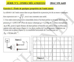 ملف يتضمن تمارين موضوعاتية لمكون الموجات خاص بالسنة الثانية بكالوريا علوم رياضية ، خيار فرنسية