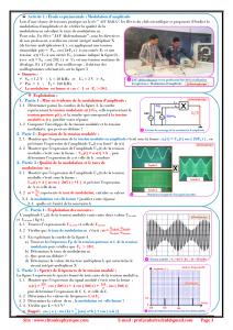 Chapitre 11 : Modulation et Démodulation d'Amplitude : Activités , Exercices d'application : 2BAC BIOF , Pr JENKAL RACHID,