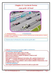 ♠Chapitre 12 : Les lois de Newton : Cours , Activités , Exercices d'application , 2BAC BIOF , Pr JENKAL RACHID