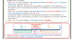 ♣ Chapitre 6 : Évolution spontanée d'un système chimique : Cours , Activités , Exercices d'application , 2BAC BIOF , Pr JENKAL RACHID ,