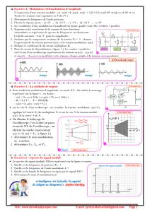 ♣ Série d'exercices 11 : Modulation et Démodulation d'Amplitude : 2BAC BIOF , SM , SP , Pr JENKAL RACHID,
