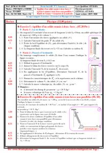 ♣ Devoir Surveillé N° 1 semestre 2 : équilibre d'un solide soumis à deux forces , équilibre d'un solide soumis à trois forces non parallèles , modèle de l'atome et géométrie de la molécule , TCS BIOF , 2019-2020, Pr JENKAL RACHID
