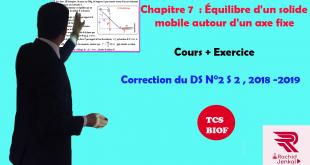 ♣Correction du devoir surveillé N° 2 Semestre 2 , TCS BIOF , 2018-2019, Exercice II : théorème des moments