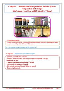 ♣ Chapitre 7 : Transformations spontanées dans les piles et récupération de l'énergie :  Activités , Exercices d'application , 2BAC BIOF , Pr JENKAL RACHID ,