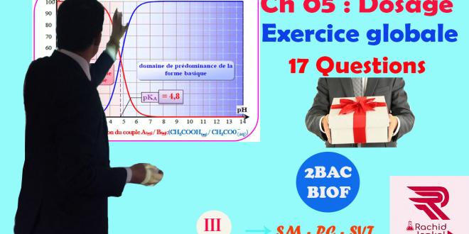 ♣ Chapitre 05 : Réactions acido-basiques , Dosage : Exercice globale ( 17 Questions ) + Cours + Astuces , 2BAC BIOF , Partie 3 , Pr JENKAL RACHID,