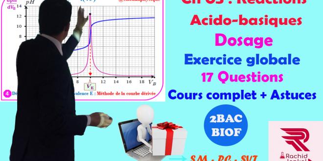 Ch 05 : 2 BAC BIOF- Réactions acido-basiques: Dosage, Exercice corrigé (17 Questions)+ cours complet , Pr JENKAL RACHID,