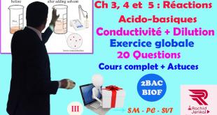 Ch 3,4 et 5 : 2 BAC BIOF - Réactions acido-basiques, Exercice (20 Questions) (Partie3), Conductivité, Dilution,JENKAL RACHID