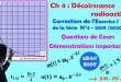 2BAC BIOF - Correction de l'exercice 1 de la série N° 4: Décroissance radioactive : Questions de cours : Définitions et Démonstrations importantes en nucléaire
