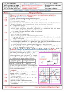 ♣ Devoir Surveillé N° 1 Semestre 1 : PC - SM , 2020 / 2021 - Pr JENKAL RACHID,