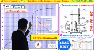 2BACBIOF - SM, PC et SVT : Correction de l'Exercice 5 (50 Questions) de la série N° 5 - Chimie : Réactions acido-basiques, Dosage - Pr JENKAL