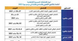 مواعد إجراء الامتحانات المدرسية الإشهادية الخاصة بالثانوي التأهيلي والاعدادي والابتدائي برسم دورة 2021