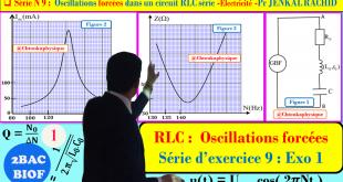 Série d'exercices 9 : ( Exercice 1 + Correction ) Oscillations forcées dans un circuit RLC série , 2BAC BIOF , SM - Pr JENKAL RACHID