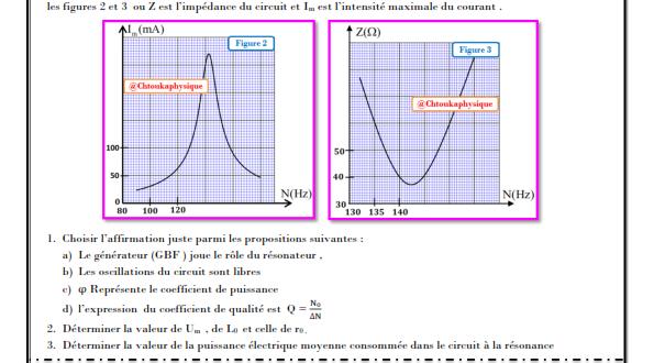 Série d'exercices 9 : Oscillations forcées dans un circuit RLC série , 2BAC BIOF , SM - Pr JENKAL RACHID