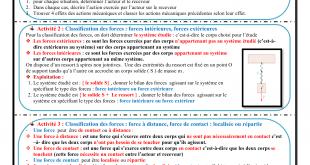 Chapitre 2 , Exemples d'actions mécaniques , Activités ,Exercices d'application , Pr JENKAL RACHID