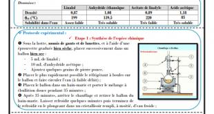 Chapitre 3 : La synthèse d'espèces chimiques , Activités , Exercice de synthèse ,TCS BIOF , Pr JENKAL RACHID