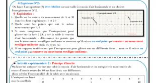 ♣Chapitre 4 : Le principe d'inertie : Activités , Exercices d'application , TCS BIOF , Pr JENKAL RACHID