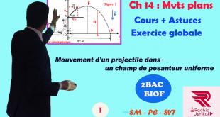 Chapitre 14 : Mouvement d'un projectile dans un champ de pesanteur uniforme ( Vidéo ) , 2BAC BIOF : SM , PC et SVT