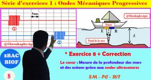 * Exercice 8 : Mesure de la profondeur des mers et océans grâce aux ondes ultrasonores,